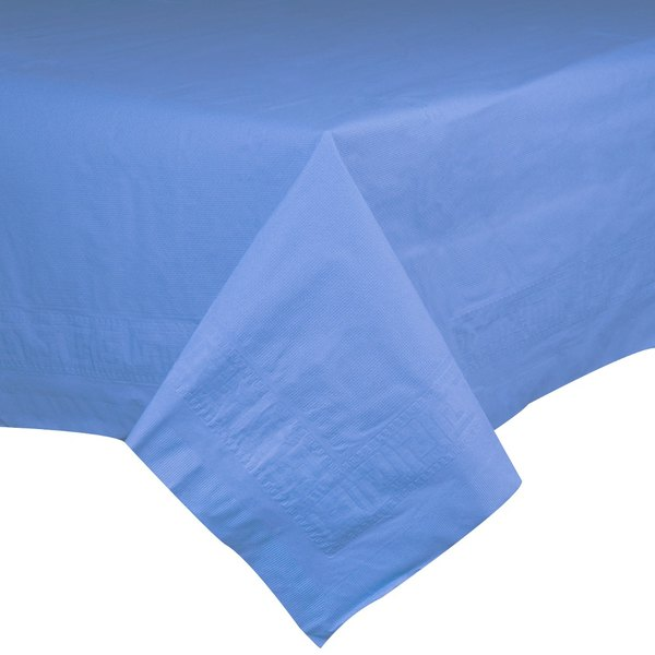 """Hoffmaster 220644 54"""" x 108"""" Cellutex Marina Blue Tissue / Poly Paper Table Cover - 25/Case Main Image 1"""