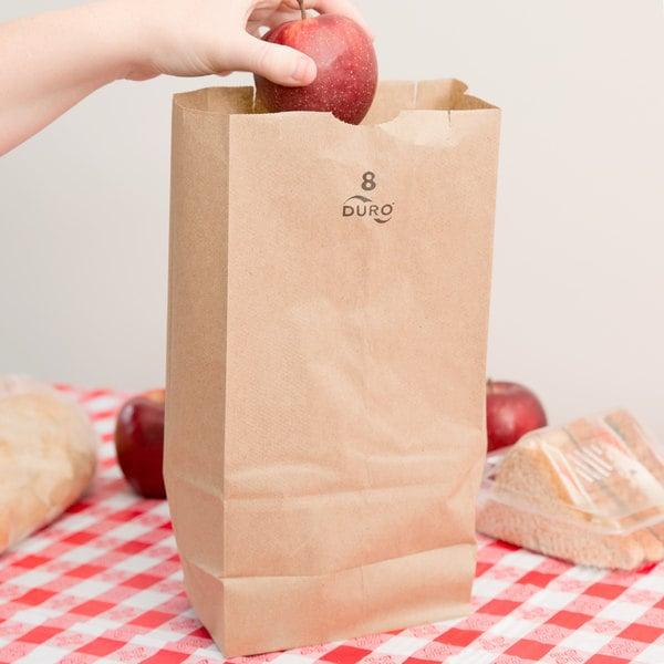 Duro 8 lb. Brown Paper Bag - 500/Bundle