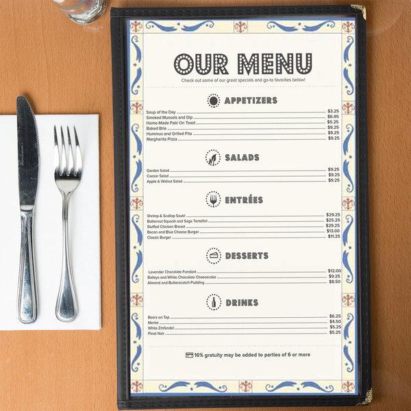 8 12 x 14 menu paper mediterranean border middle insert 100pack
