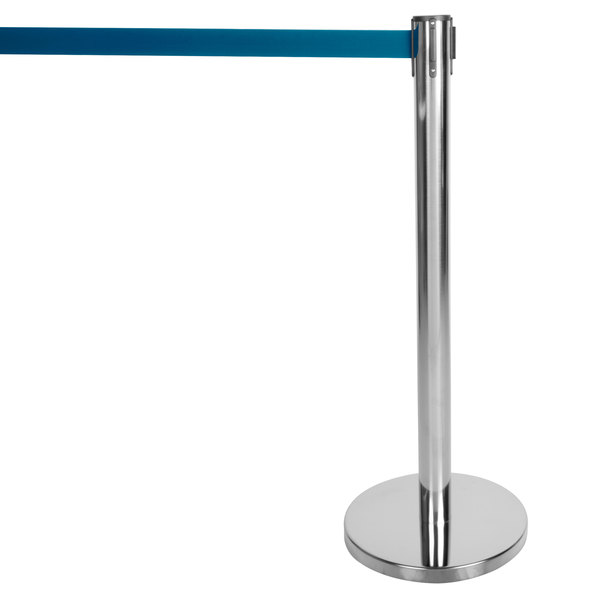 """Aarco HC-7 Chrome 40"""" Crowd Control / Guidance Stanchion with 84"""" Blue Retractable Belt Main Image 1"""
