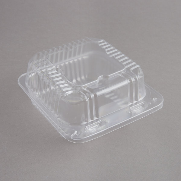Durable Packaging PXT-505 Duralock 5 inch x 5 inch x 2 1/2 inch Clear Hinged Lid Plastic Container - 500/Case