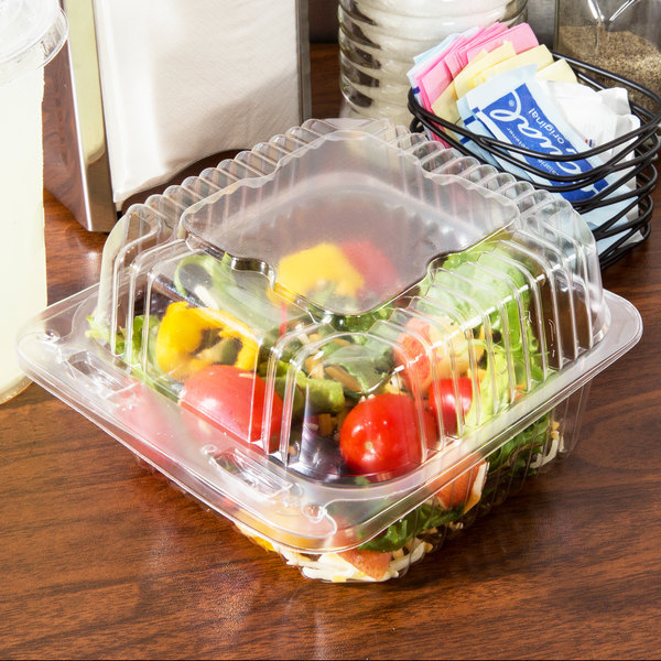 "Durable Packaging PXT-505 Duralock 5"" x 5"" x 2 1/2"" Clear Hinged Lid Plastic Container - 500/Case"