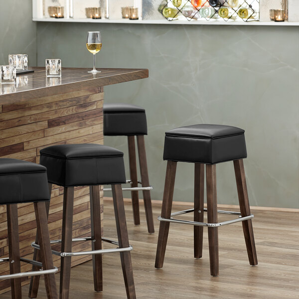 Lancaster Table & Seating Sofia Vintage Finish Backless Barstool with Padded Seat Main Image 3