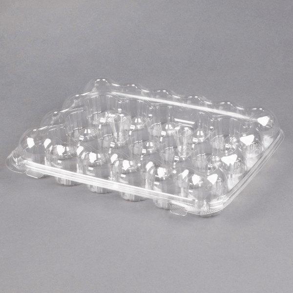 24 Compartment Clear Hinged Lid Mini Cupcake Container - 110/Case Main Image 1