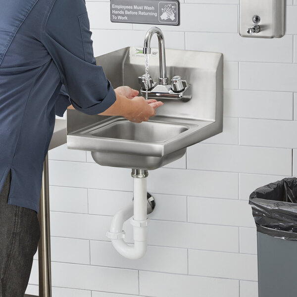 "Regency 12"" x 16"" Wall Mounted Hand Sink with Gooseneck Faucet and Left Side Splash Main Image 4"