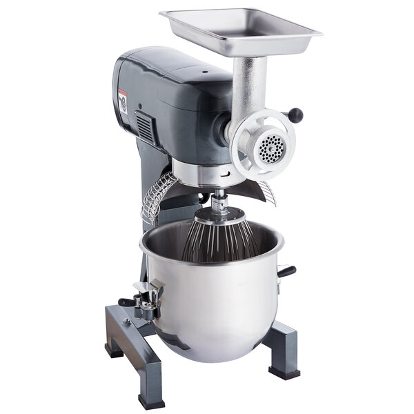 Avantco MX20MGKIT 20 Qt. Gear-Driven Commercial Planetary Stand Mixer with Guard and Meat Grinder Attachment - 120V, 1 1/2 hp Main Image 1