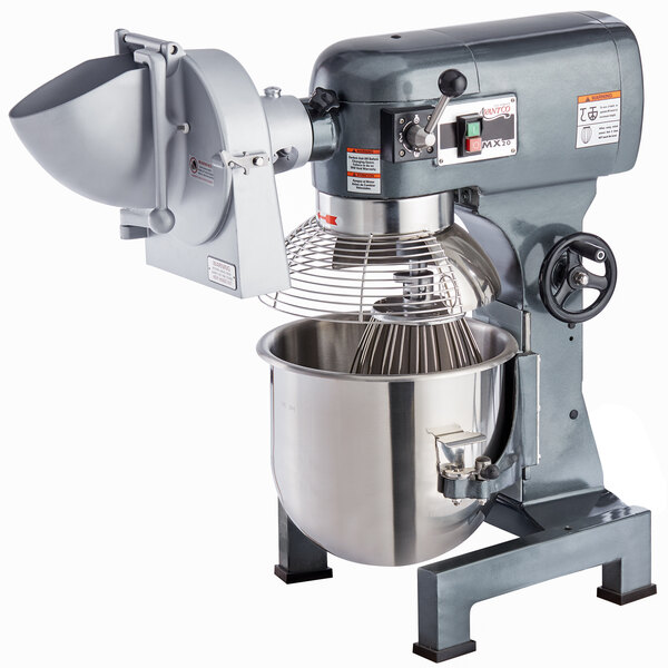 Avantco MX20SHSLK 20 Qt. Gear-Driven Commercial Planetary Stand Mixer with Guard and Shredder / Slicer Attachment - 120V, 1 1/2 hp Main Image 1