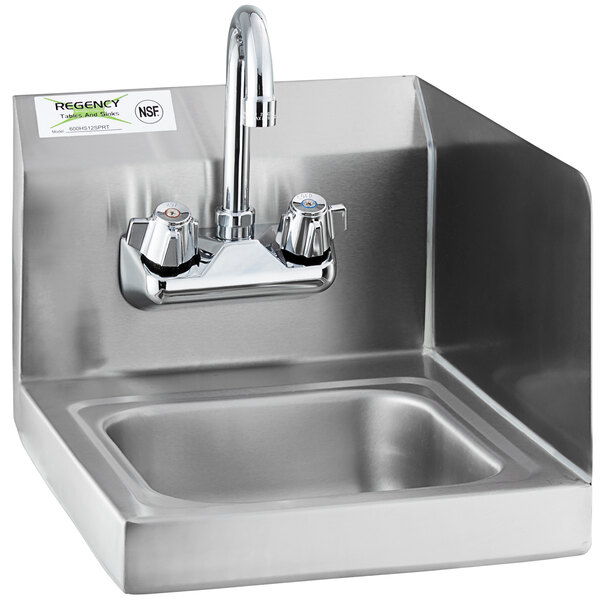 """Regency 12"""" x 16"""" Wall Mounted Hand Sink with Gooseneck Faucet and Right Side Splash Main Image 1"""