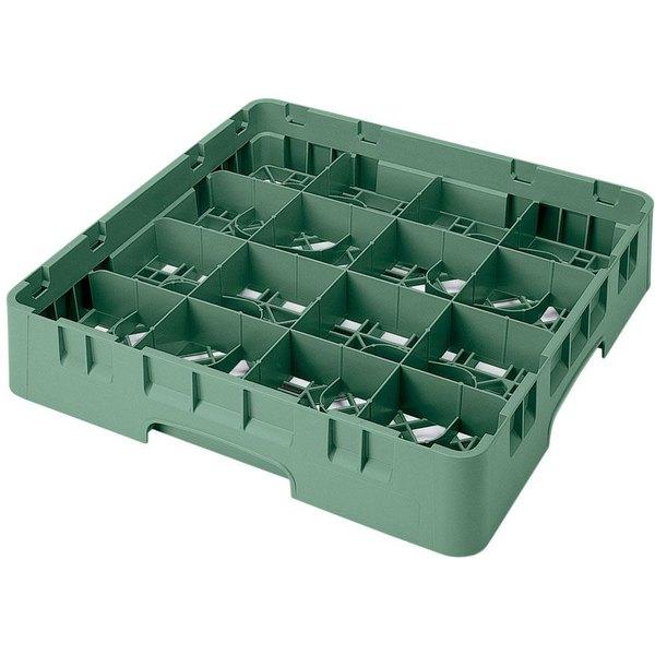 "Cambro 16S800119 Camrack 8 1/2"" High Customizable Sherwood Green 16 Compartment Glass Rack"