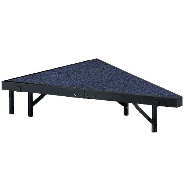 "National Public Seating SP368C Portable Stage Pie Unit with Blue Carpet - 36"" x 8"""