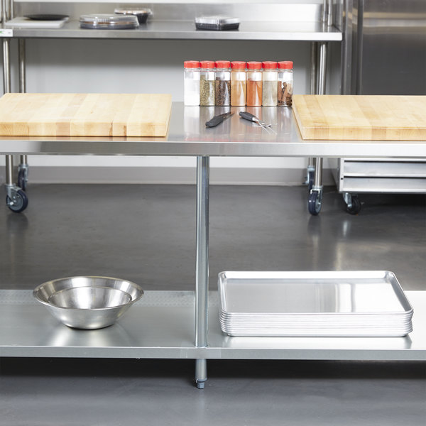 "Regency 30"" x 96"" 18-Gauge 304 Stainless Steel Commercial Work Table with Galvanized Legs and Undershelf"