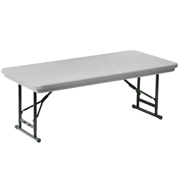 "Correll Adjustable Height Folding Table, 30"" x 72"" Plastic, Gray - Short Legs - R-Series RA3072S"