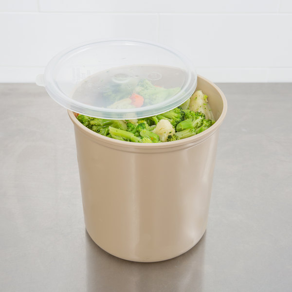 Cambro CP27133 2.7 Qt. Beige Round Crock with Lid Main Image 5