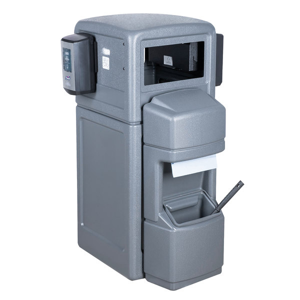 Commercial Zone 757003 Islander Series Aruba-5 42 Gallon Gray Single-Sided Waste / Windshield Service Center with Paper Towel Dispenser, Squeegee, Wash Station, and 2 Glove Dispensers Main Image 1