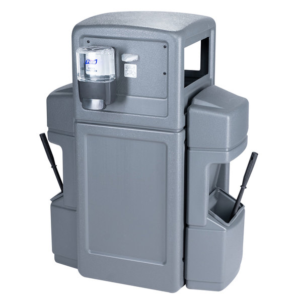 Commercial Zone 757103 Islander Series Aruba-6 42 Gallon Gray Double-Sided Waste / Windshield Service Center with 2 Paper Towel Dispensers, 2 Squeegees, 2 Wash Stations, and 2 Glove Dispensers Main Image 1