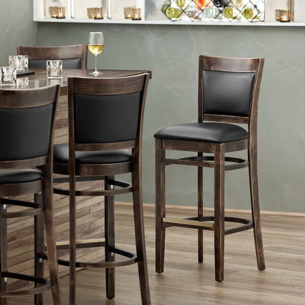 Lancaster Table & Seating Sofia Vintage Finish Upholstered Back Bar Height Chair with Black Padded Seat Main Image 4