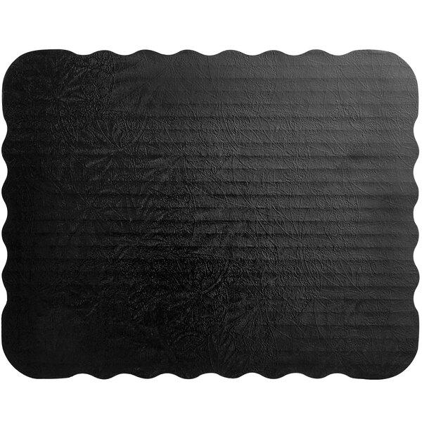 "Enjay SW-978778SBEMB 9 7/8"" x 7 7/8"" Black Laminated Corrugated 1/8 Sheet Cake Board - 10/Pack Main Image 1"