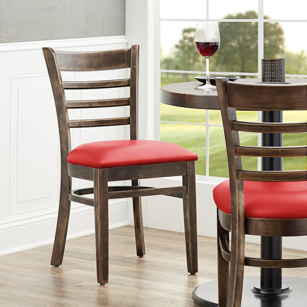 "Lancaster Table & Seating Vintage Finish Wooden Ladder Back Chair with 2 1/2"" Red Padded Seat Main Image 4"