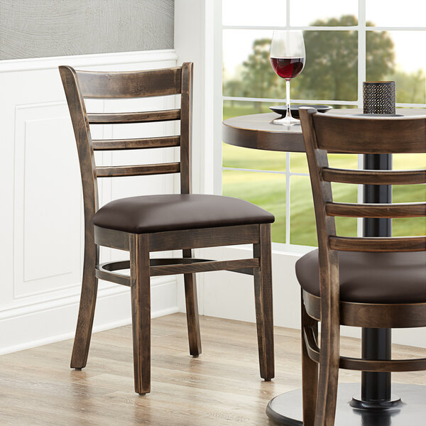 """Lancaster Table & Seating Vintage Finish Wooden Ladder Back Chair with 2 1/2"""" Dark Brown Padded Seat Main Image 4"""