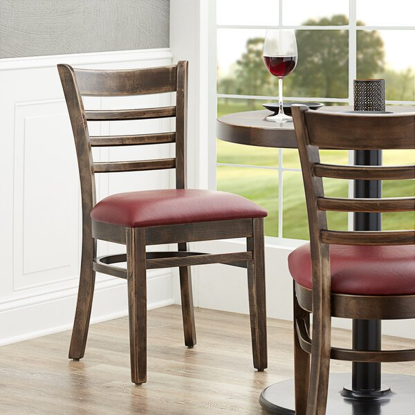 """Lancaster Table & Seating Vintage Finish Wooden Ladder Back Chair with 2 1/2"""" Burgundy Padded Seat Main Image 4"""