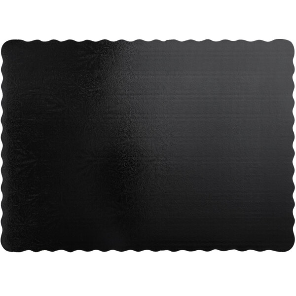 "Enjay DW-18341334SBEMB 18 3/4 x 13 3/4"" Black Laminated Corrugated 1/2 Sheet Cake Pad - 50/Case Main Image 1"