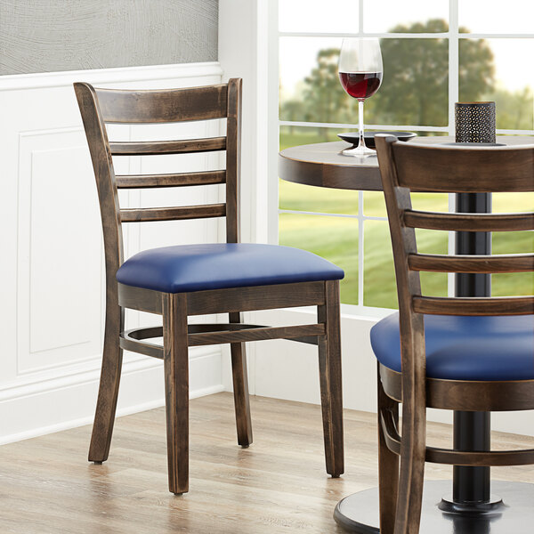 """Lancaster Table & Seating Vintage Finish Wooden Ladder Back Chair with 2 1/2"""" Navy Padded Seat Main Image 4"""