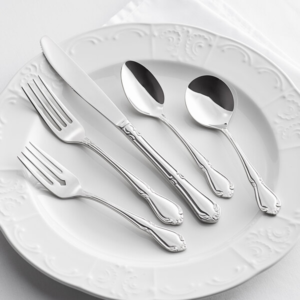 Acopa Blair 18/8 Stainless Steel Extra Heavy Weight Flatware Set with Service for 12 - 60/Pack Main Image 3