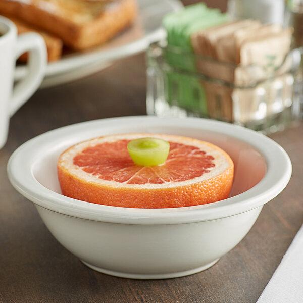 """Choice 6 1/2"""" Ivory (American White) Rolled Edge Stoneware Grapefruit Bowl - 36/Case Main Image 3"""