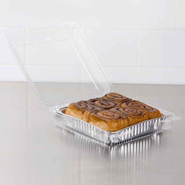 """Dart PET55UT1 StayLock 9"""" x 8 5/8"""" x 3"""" Clear Hinged PET Plastic Large Container - 200/Case"""