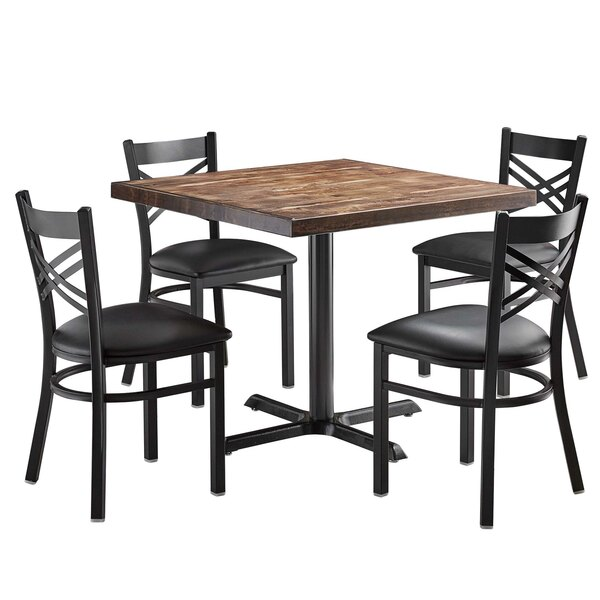 Lancaster Table Seating 36 Square Standard Height Recycled Wood Butcher Block Table With 4 Black Cross Back Chairs Vintage