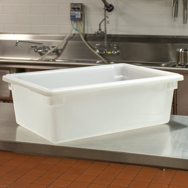 """Cambro 18269P148 18"""" x 26"""" x 9"""" White Poly Food Storage Box"""