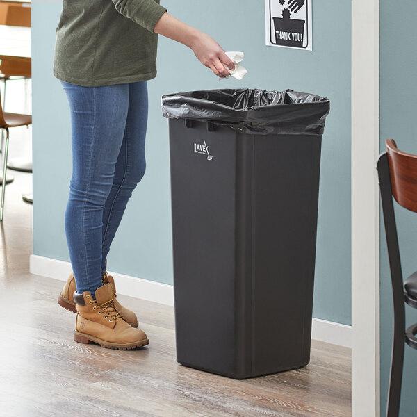 Lavex Janitorial 23 Gallon Black Square Trash Can Main Image 2