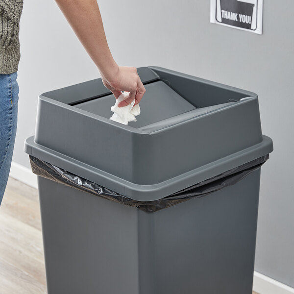 Lavex Janitorial 35 Gallon Gray Square Trash Can Swing Lid Main Image 2