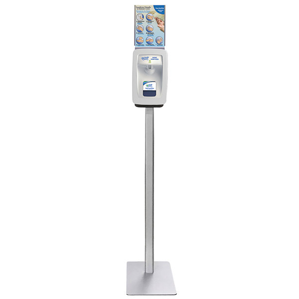Kutol 9920ZZZ Health Guard Aluminum Hand Sanitizing Station Floor Stand with Sign