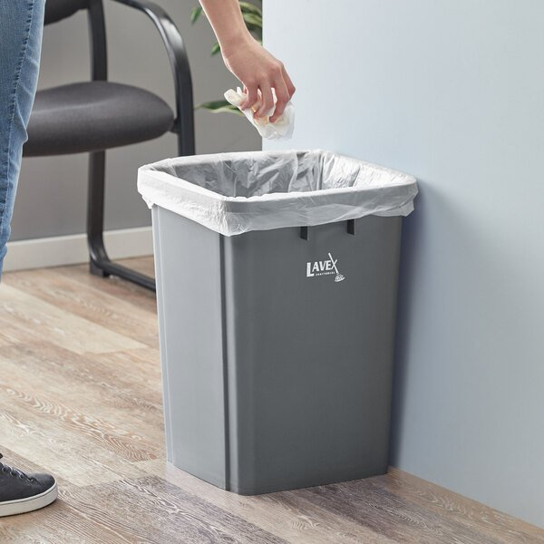 Lavex Janitorial 19 Gallon Gray Square Trash Can Main Image 2