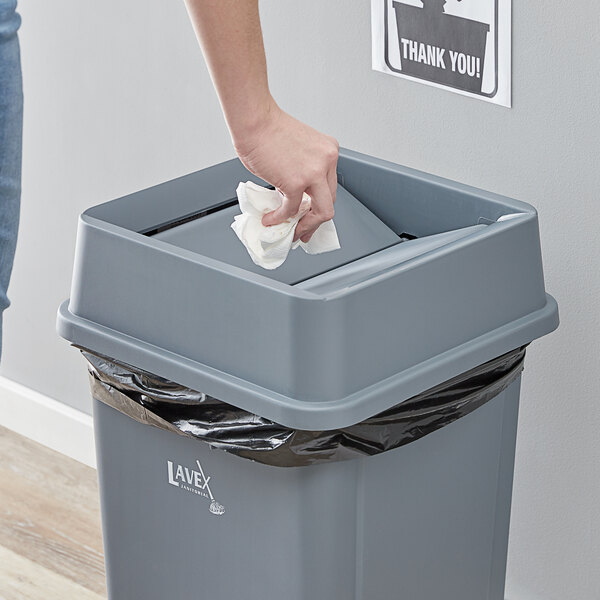Lavex Janitorial 19 / 23 Gallon Gray Square Trash Can Swing Lid Main Image 2