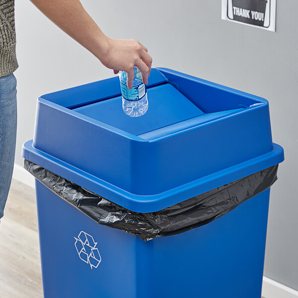 Lavex Janitorial 35 Gallon Blue Square Trash Can Swing Lid Main Image 2