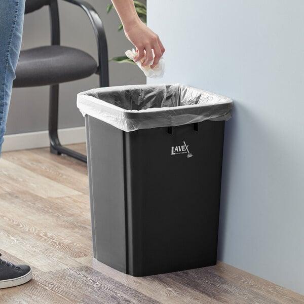 Lavex Janitorial 19 Gallon Black Square Trash Can Main Image 2