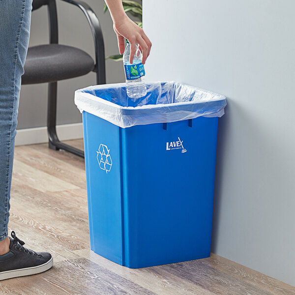 Lavex Janitorial 19 Gallon Blue Square Recycle Bin Main Image 2
