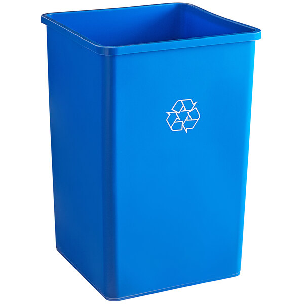 Lavex Janitorial 35 Gallon Blue Square Recycle Bin