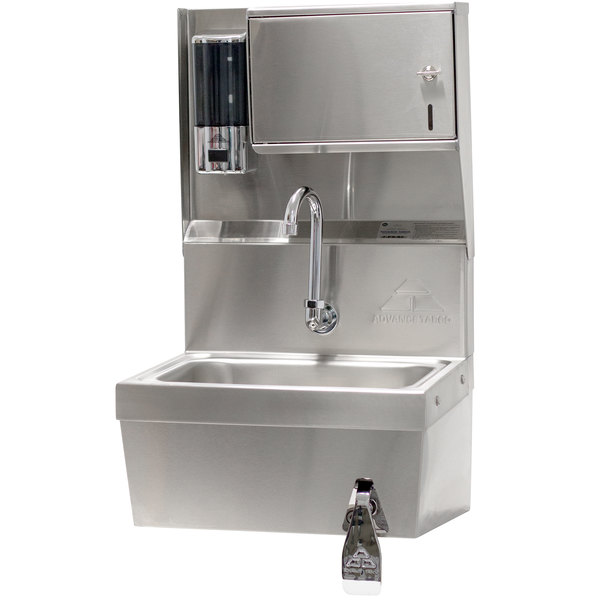 """Advance Tabco 7-PS-82 Hands Free Hand Sink with Knee Valve and Soap and Towel Dispenser - 17 1/4"""""""