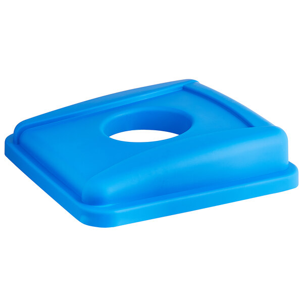 Lavex Janitorial 19 / 23 Gallon Blue Square Recycle Bin Lid with Bottle / Can Hole Main Image 1
