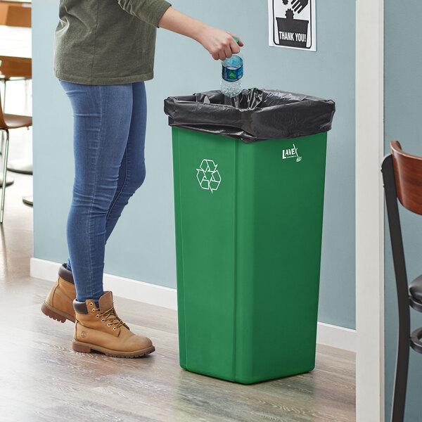 Lavex Janitorial 23 Gallon Green Square Recycle Bin Main Image 2