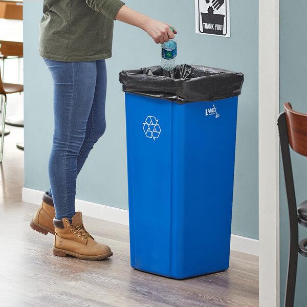 Lavex Janitorial 23 Gallon Blue Square Recycle Bin Main Image 2