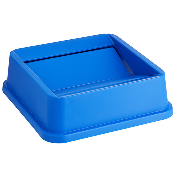 Lavex Janitorial 19 / 23 Gallon Blue Square Trash Can Swing Lid Main Image 1