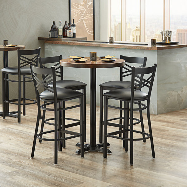 Lancaster Table Seating 30 Round Bar Height Recycled Wood Butcher Block Table With 4 Black Cross Back Chairs Vintage