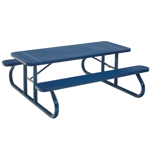 """Wabash Valley SG111D Signature Series 96 3/8"""" x 30 3/8"""" Diamond Pattern Portable Plastisol Coated Steel Mesh Outdoor Picnic Table Main Image 1"""