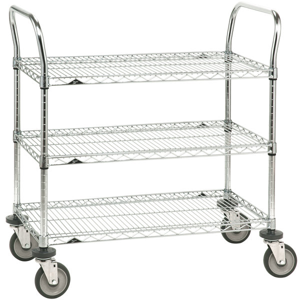 "Metro 3SPN53DC Super Erecta Chrome Three Shelf Heavy Duty Utility Cart with Polyurethane Casters - 24"" x 36"" x 39"" Main Image 1"