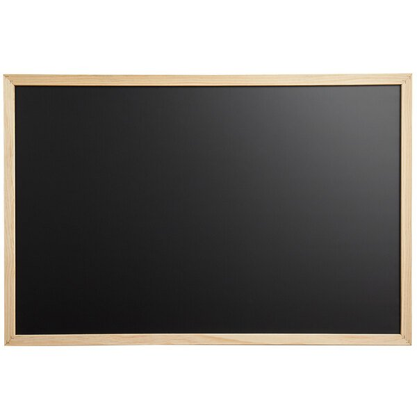 """Dynamic by 360 Office Furniture 36"""" x 24"""" Black Wall-Mount Magnetic Chalkboard with Wood Frame Main Image 1"""