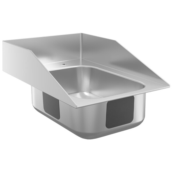 """Waterloo 10"""" x 14"""" x 5"""" 20 Gauge Stainless Steel One Compartment Drop-In Sink with Side Splashes Main Image 1"""